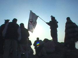The Banner of Peace in Magic Bernal Stone Summit-Queretaro